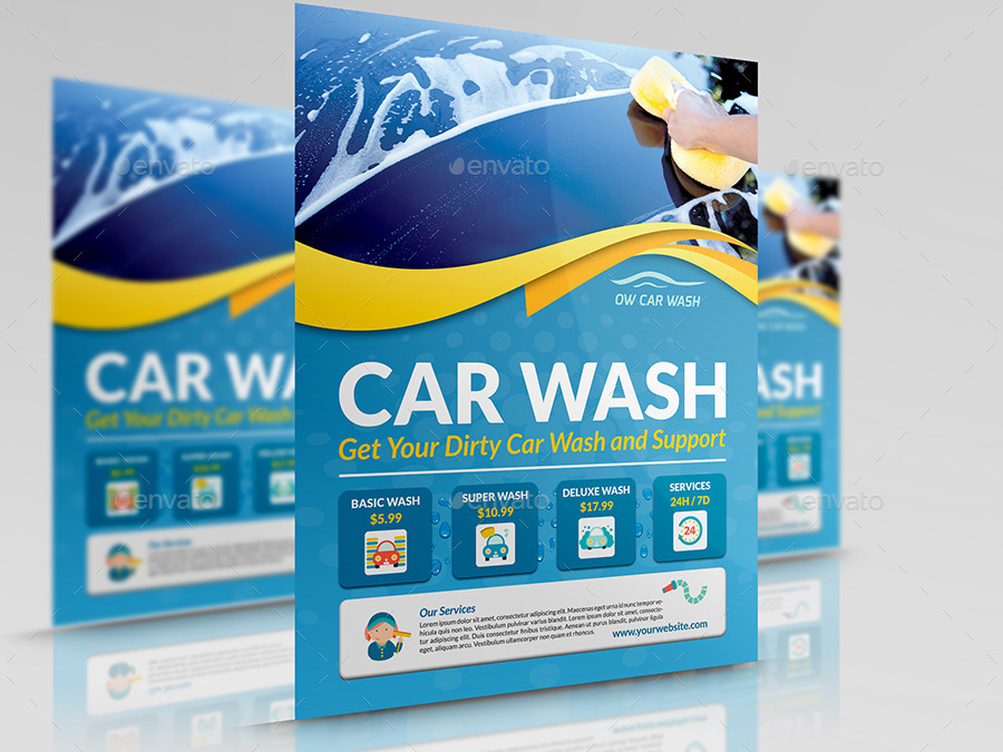 Car Wash Services Flyer Templates by OWPictures GraphicRiver - car wash flyer template