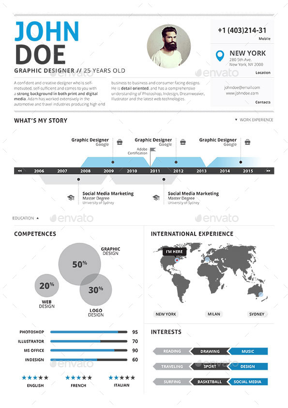 Infographic Resume Vol 2 by paolo6180 GraphicRiver - infographic resumes