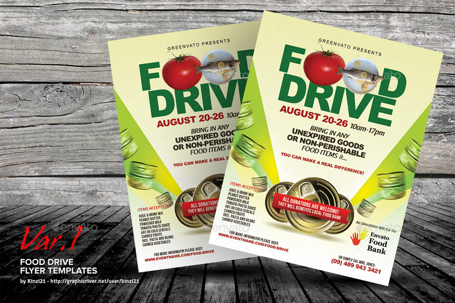 Food Drive Flyer Templates by kinzi21 GraphicRiver - food flyer template