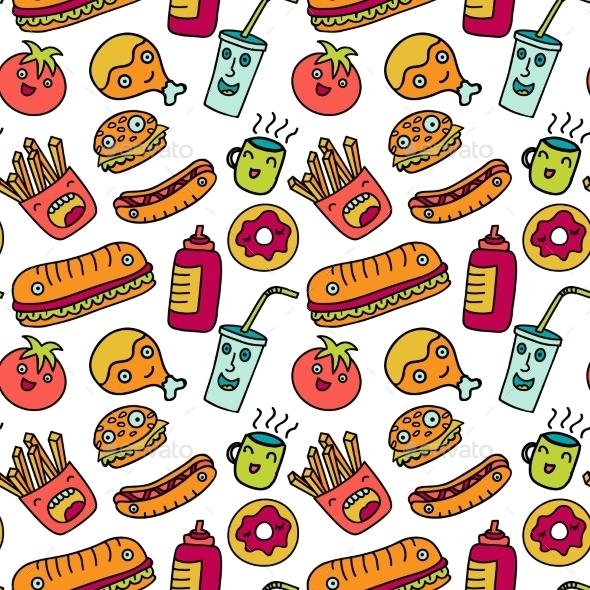 Cute Cartoon Sushi Wallpaper Fast Food Seamless Background Funny Cartoon By Olga Km
