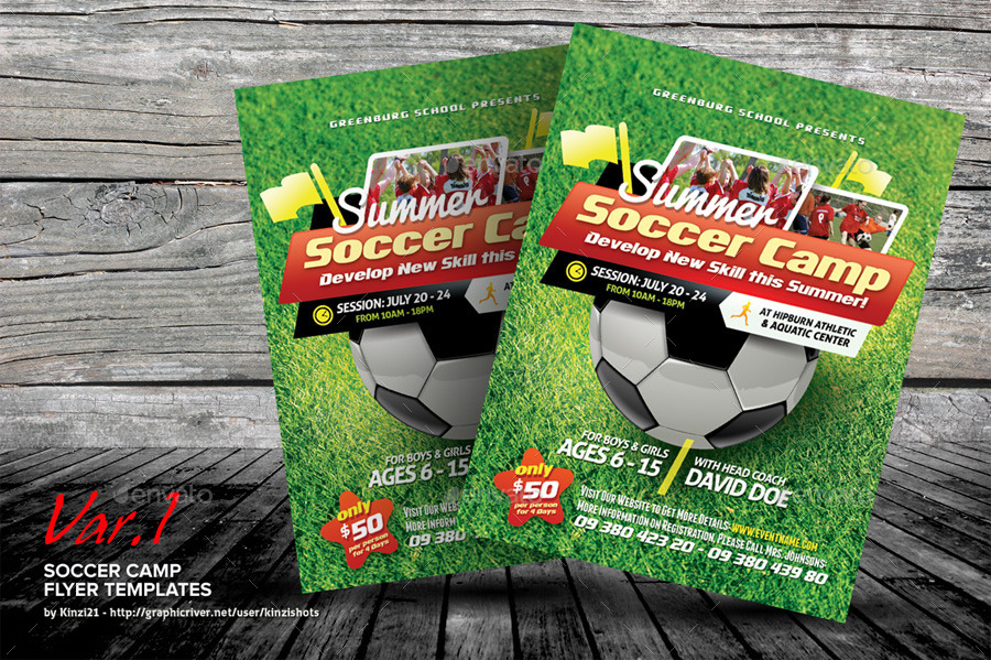Soccer Camp Flyer Templates by kinzishots GraphicRiver - camp flyer template