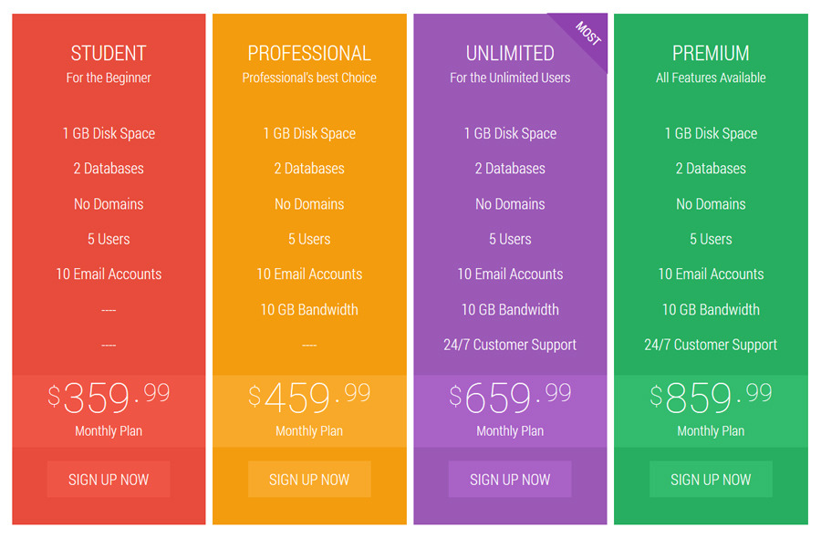 Flat Pricing Table by Apex_theme CodeCanyon
