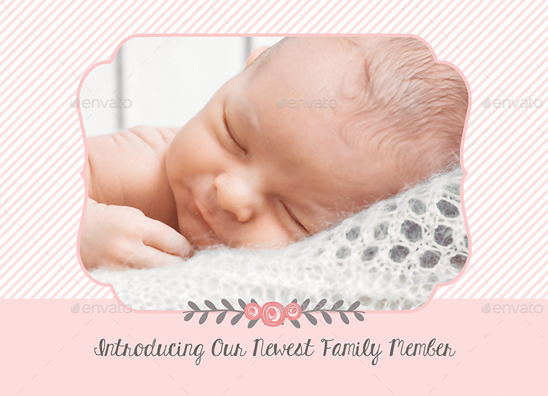 Birth Announcement Template - Baby Girl by CarousellerieCreative - Baby Girl Birth Announcements