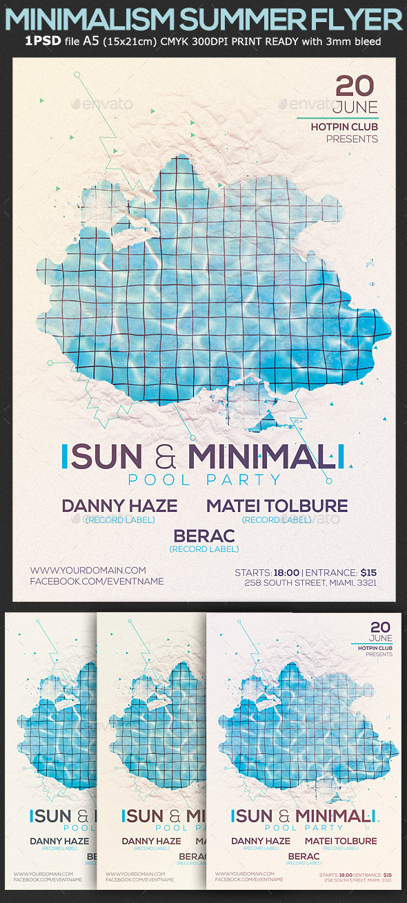 Minimalism Summer Pool Party Flyer Template 2 by Hotpin GraphicRiver