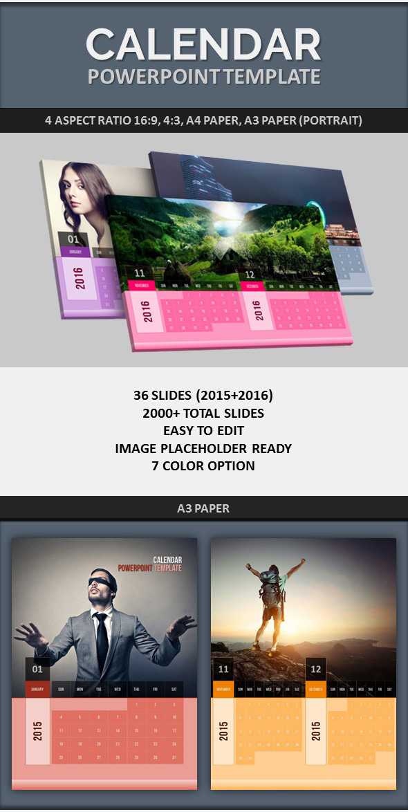 PowerPoint Calendar Template 2015-2016 by pptx GraphicRiver - powerpoint calendar template