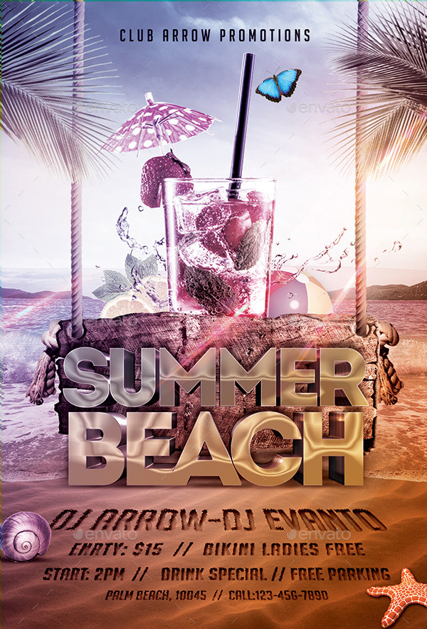 Summer Beach Party Flyer Template by Arrow3000 GraphicRiver