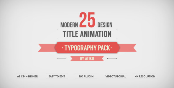 25 Design Titles Animation - Typography Pack - by ATIKO VideoHive - animation title