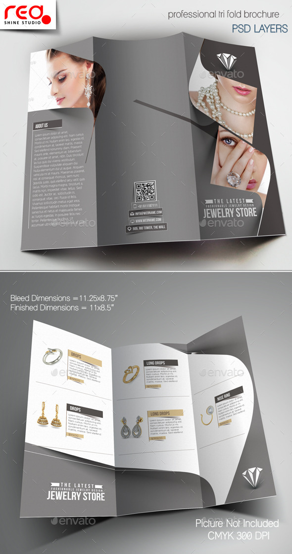 Jewelry Store Trifold Brochure Template -1 by redshinestudio