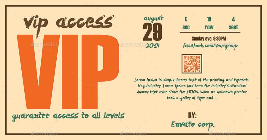Retro - Elegant Vip Pass Template by Tzochko GraphicRiver