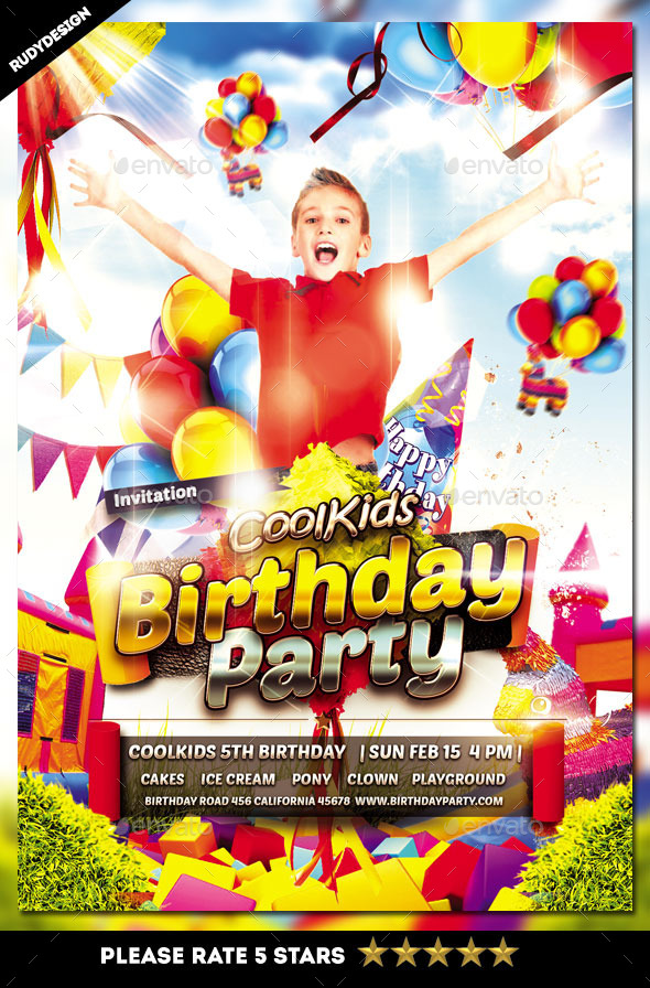 Kids Birthday Party Flyer Invitation by rudydesign GraphicRiver