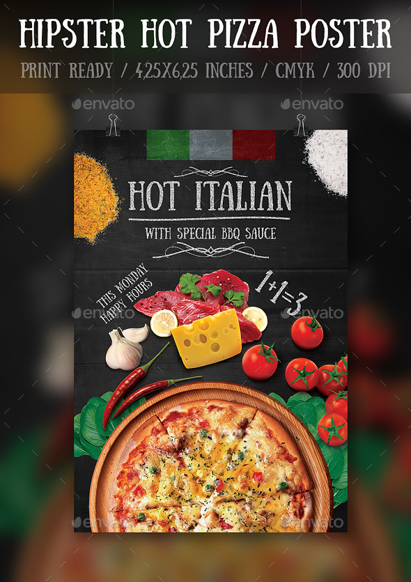 Hipster Hot Pizza Party FlyerPoster Template by Bugsster GraphicRiver