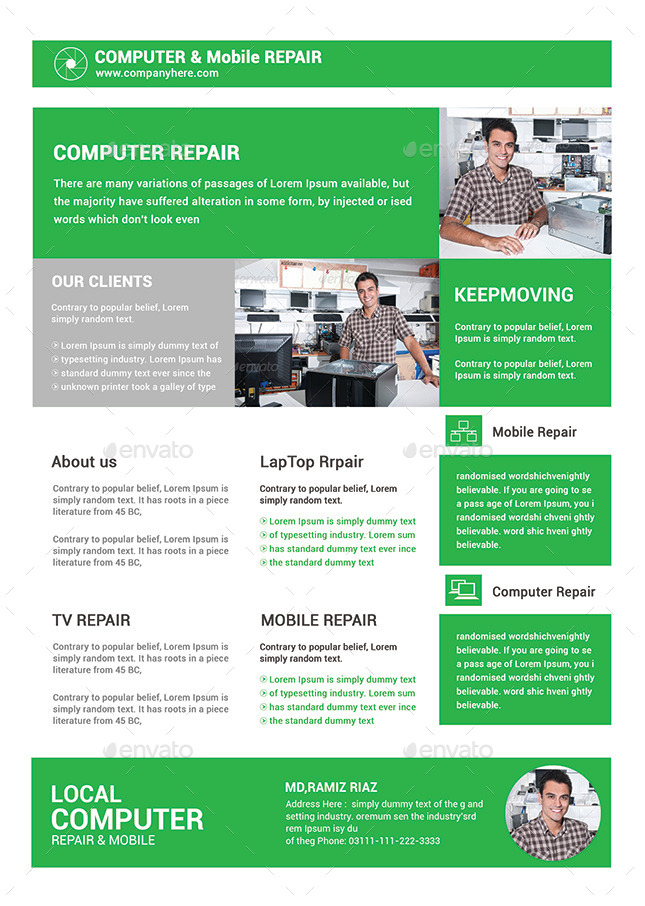 Computer  Mobile Repair Flyer Bundle by afjamaal GraphicRiver - computer repair flyer template