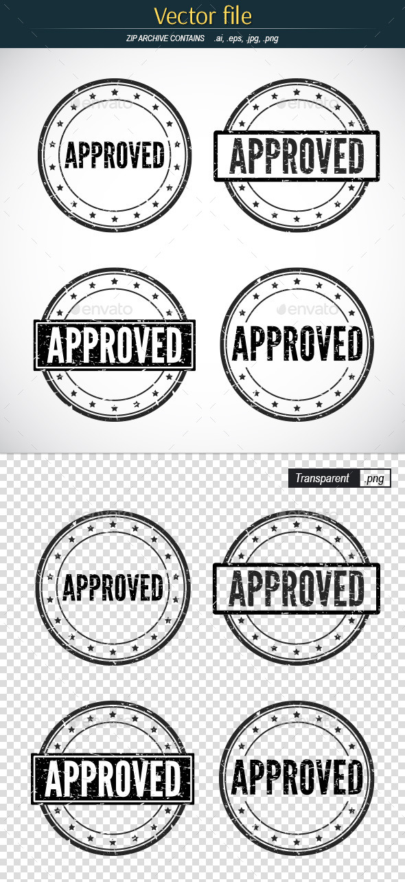 Approved Stamp - Vector Template by erik_svoboda GraphicRiver - stamp template