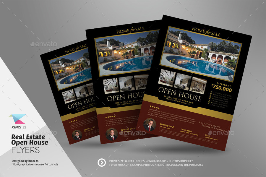 Real Estate Open House Flyer Templates by kinzishots GraphicRiver - home sale flyer template