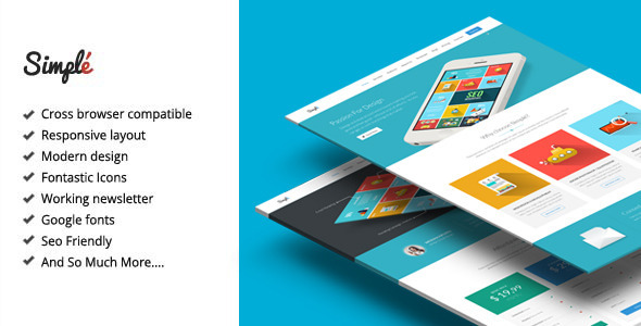 Simple - Responsive Landing Page Template by Epic-Themes ThemeForest
