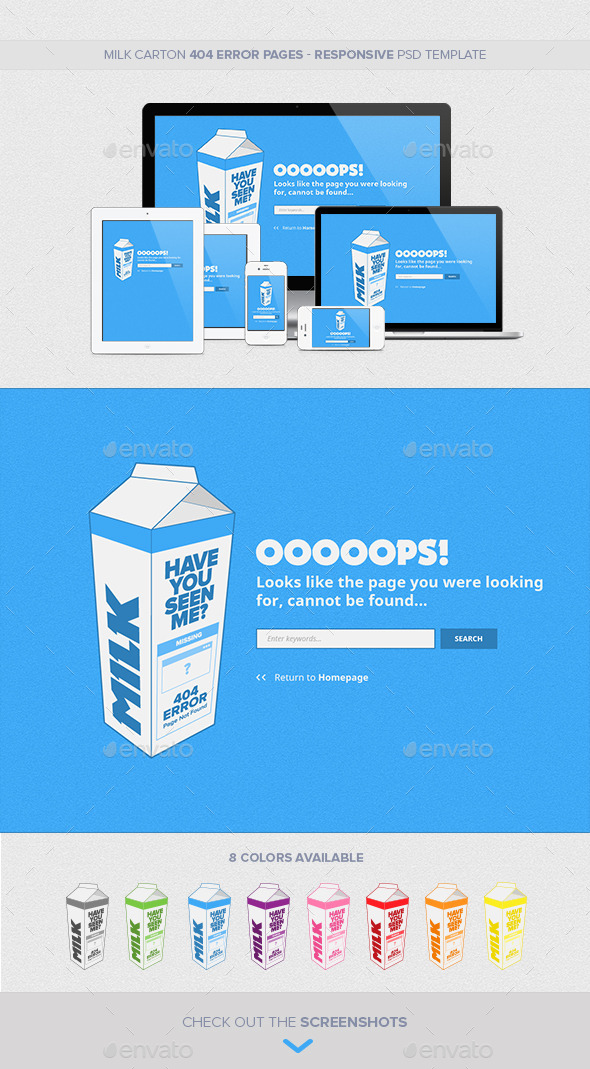 Milk Carton Responsive 404 Error Pages by CreativeJoana GraphicRiver - Milk Carton Template