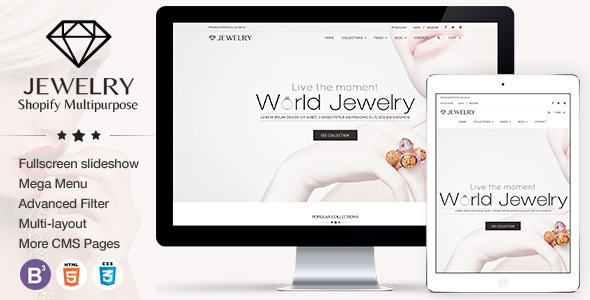 Jewelry Responsive Shopify Theme by tvlgiao ThemeForest - shopify template