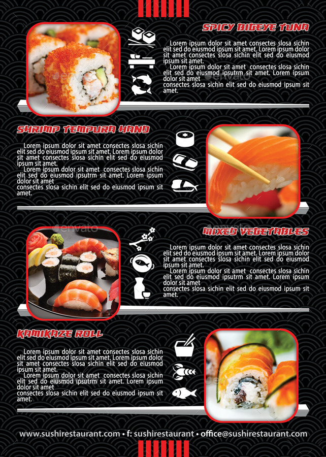 Sushi Restaurant Menu Flyer Template 105 by 21min GraphicRiver