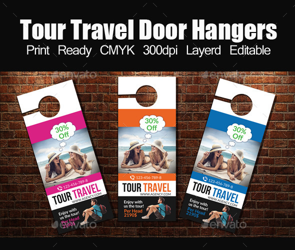 Tour travel Door Hanger Template by designhub719 GraphicRiver - door hanger design template