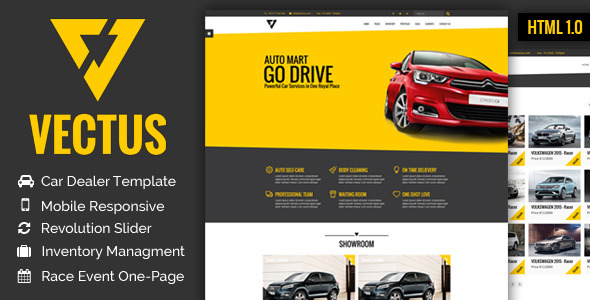 VECTUS - Car Dealership  Business HTML Template by janxcode