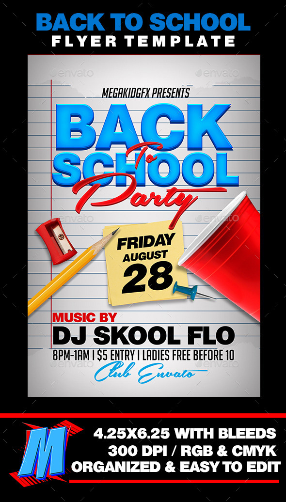 Back to School Party Flyer Template by MegaKidGFX GraphicRiver - back to school flyers