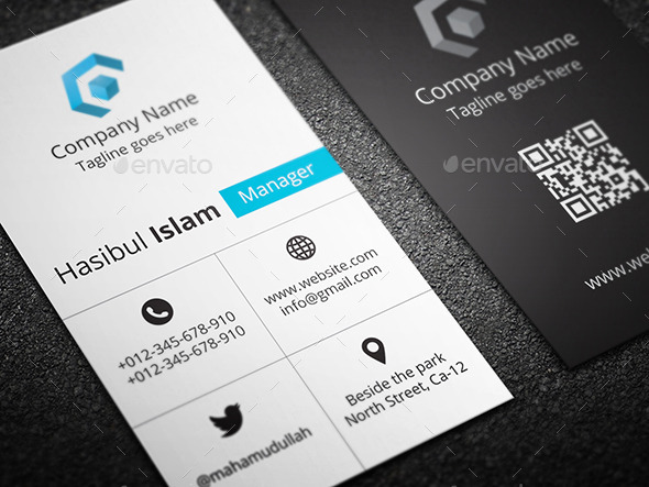 Creative Vertical Business Card by hasscreation GraphicRiver