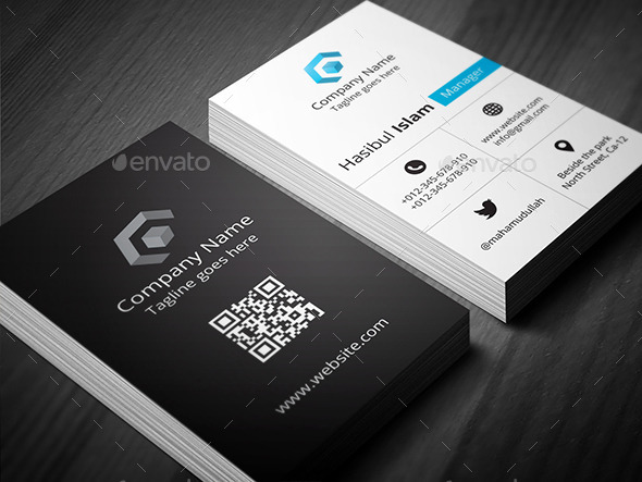 Creative Vertical Business Card by hasscreation GraphicRiver - vertical business card