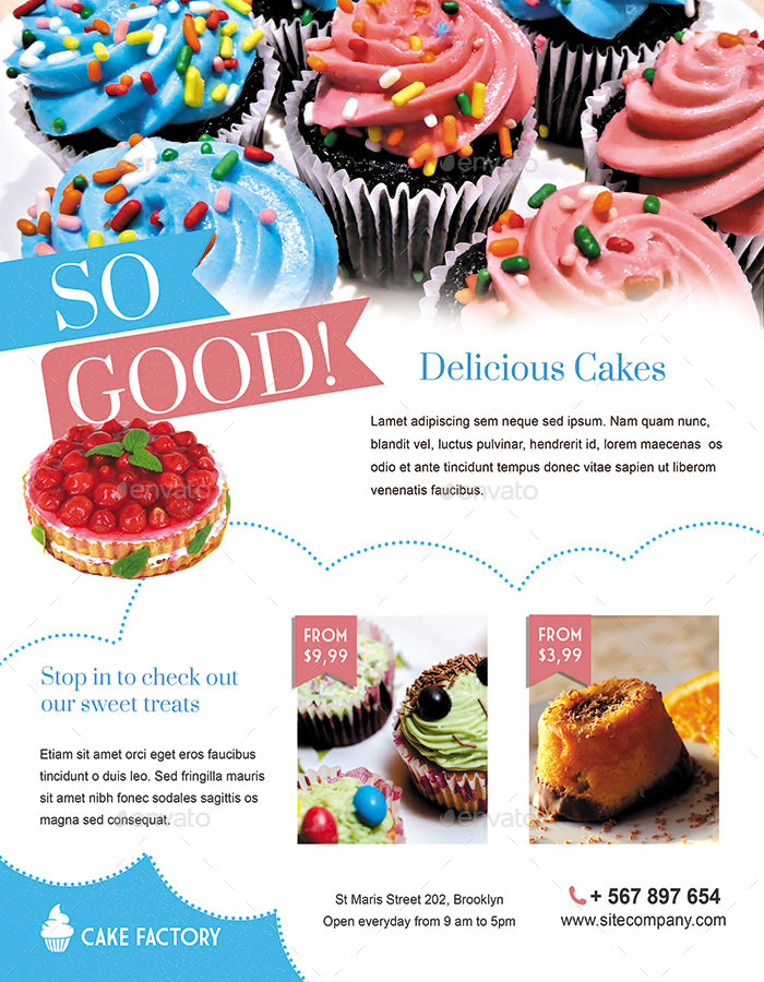 Cake / Bakery Flyer or Magazine Ad by ingridk GraphicRiver