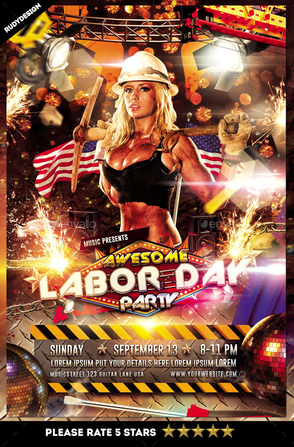 Labor Day Club  Party Flyer Templates from GraphicRiver