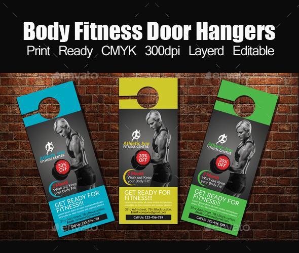 Body Fitness Door Hangers Template by designhub719 GraphicRiver - door hanger template