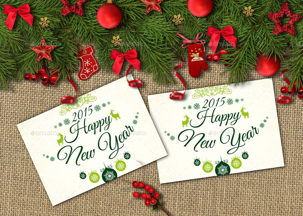 Happy New Year Cards And Invites Mockup Maker by oloreon GraphicRiver