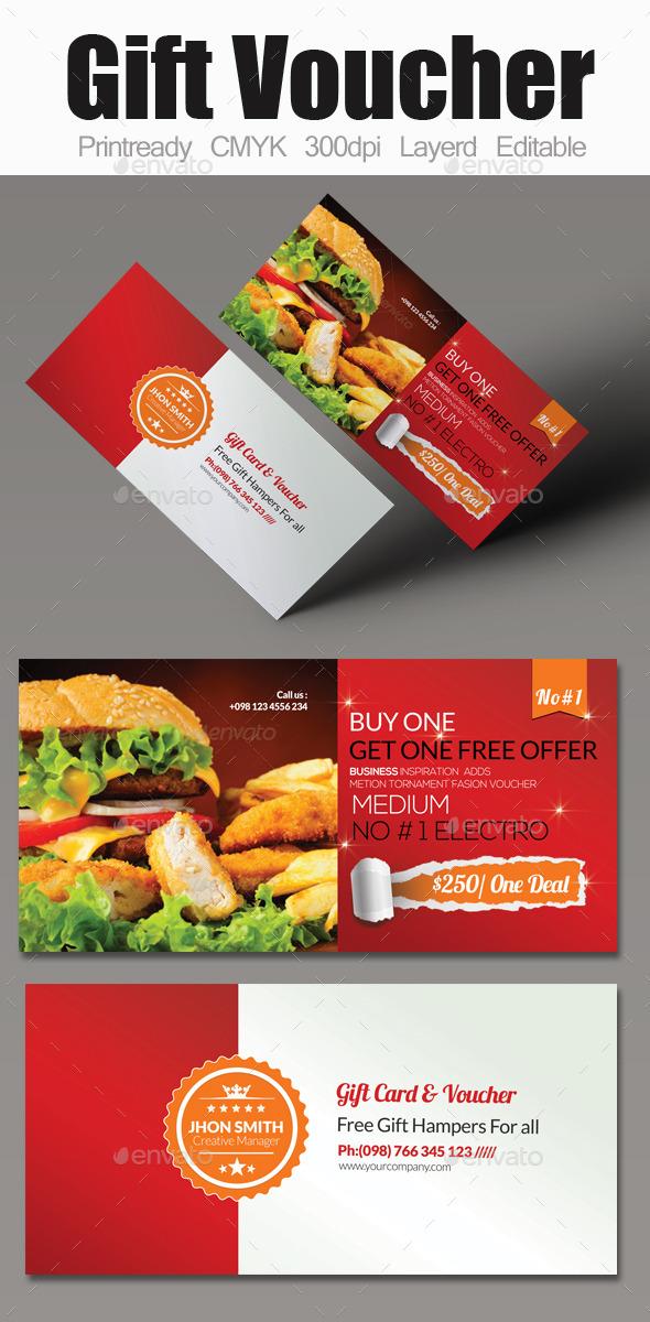 Food Gift Voucher by designhub719 GraphicRiver - food voucher template
