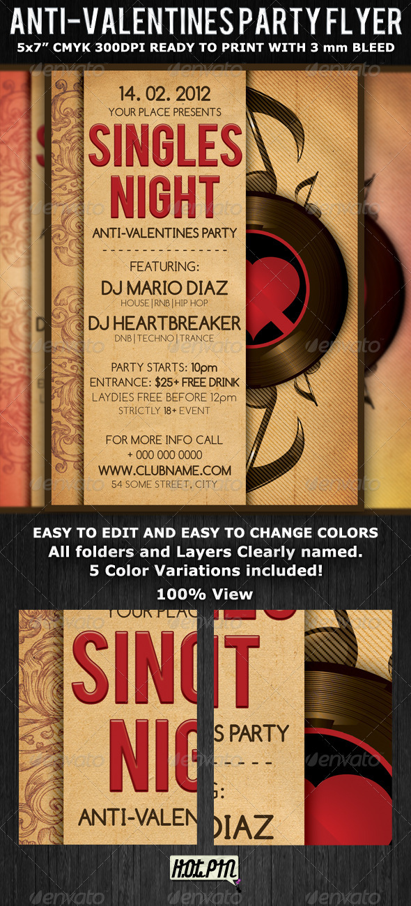 Singles Valentines Party Flyer Template by Hotpin GraphicRiver