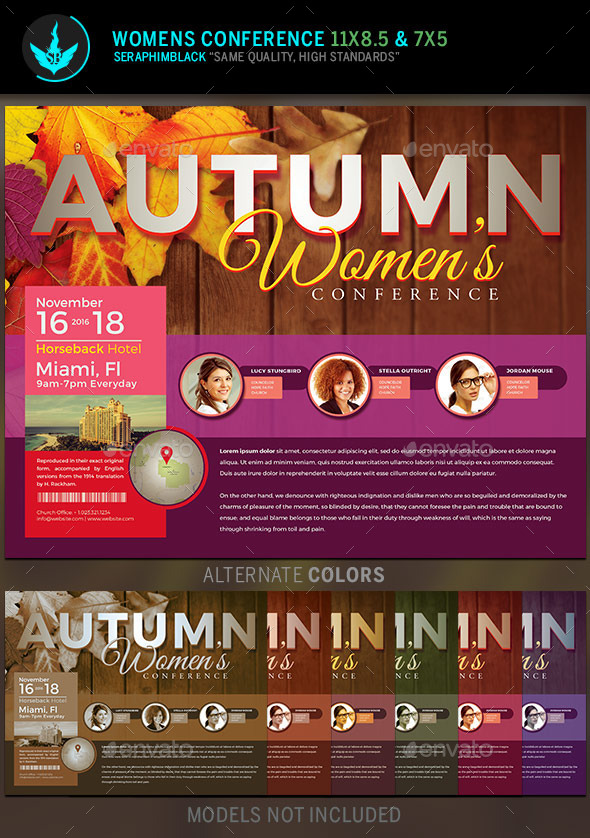 Autumn Women\u0027s Conference Flyer Template by SeraphimBlack GraphicRiver