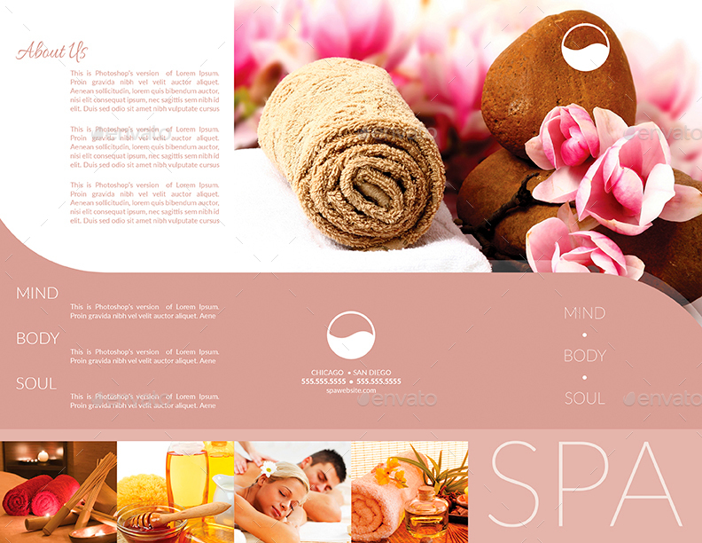 Tri-Fold Brochure  Business Card Templates - Spa by CreativB