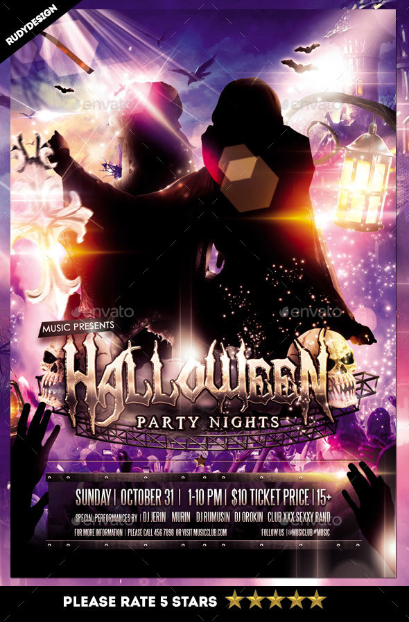 Halloween Costume Party Night Flyer by rudydesign GraphicRiver
