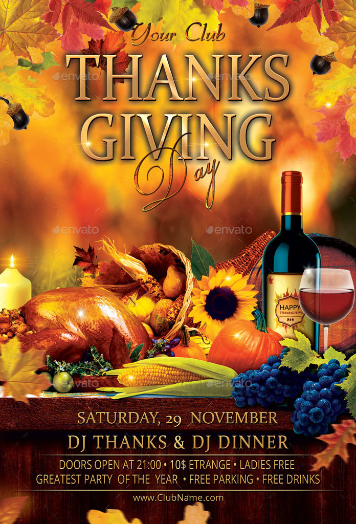 Mockup Free Flyer Thanksgiving Day Party Flyer By Oloreon | Graphicriver