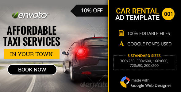Car Rental/Service Banner - 001 by themesloud CodeCanyon - car ad template