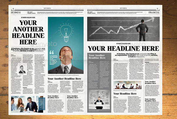 NEWSPAPER TEMPLATE 12 PAGES INDESIGN (A3) by hiro27 GraphicRiver