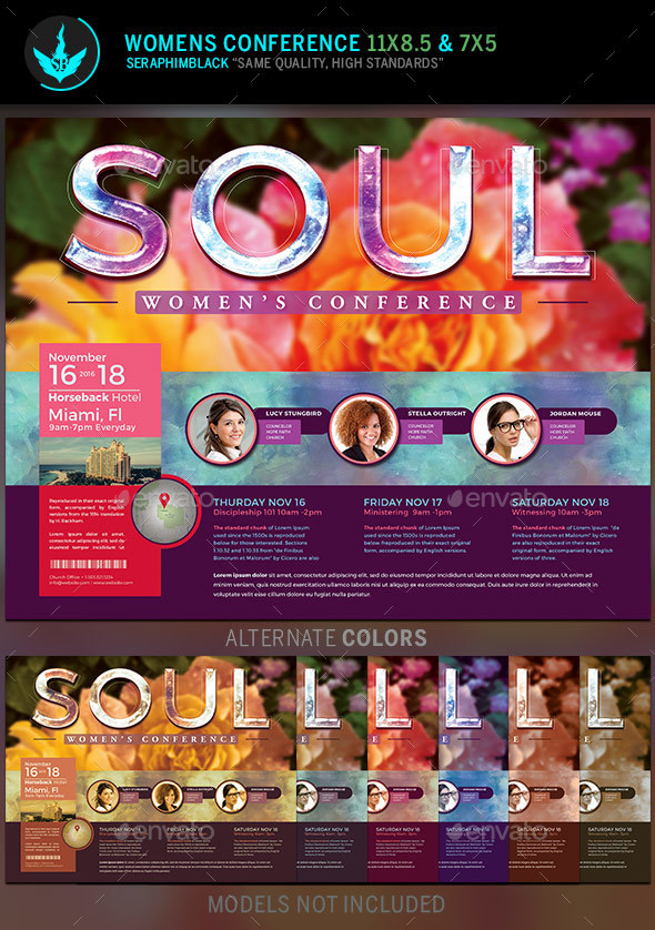 Soul Women\u0027s Conference Flyer Template by SeraphimBlack GraphicRiver