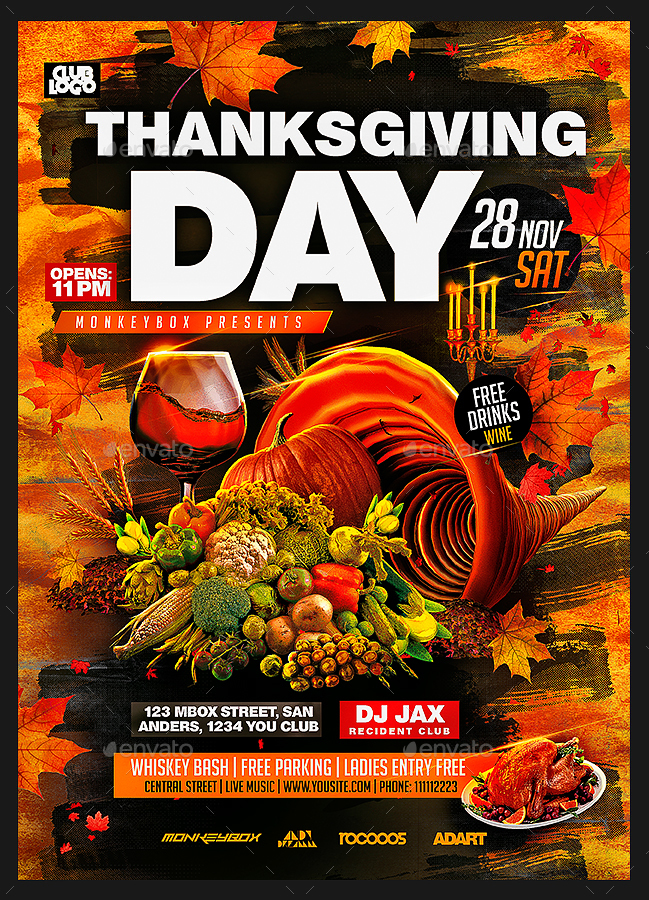 Thanksgiving Day Flyer Template by MonkeyBOX GraphicRiver