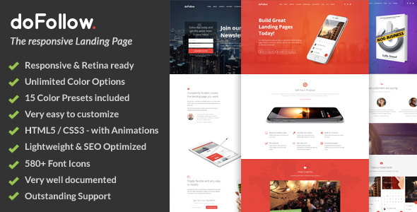 doFollow Responsive Landing Page Template by ShapingRain ThemeForest