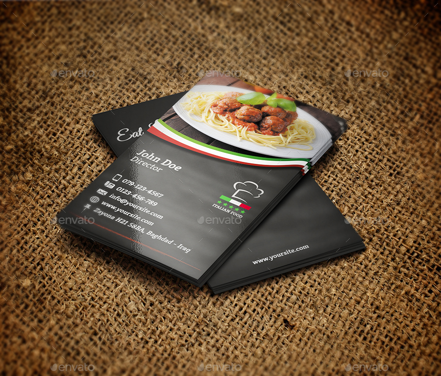 Italian Restaurant Business Card Template by OWPictures GraphicRiver