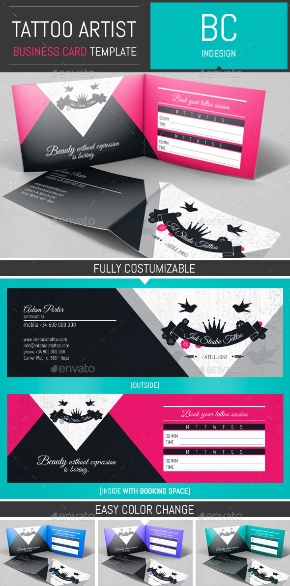 Tattoo artist folded business card template by dogmadesignfolded tattoo artist folded business card template by dogmadesign cheaphphosting Images