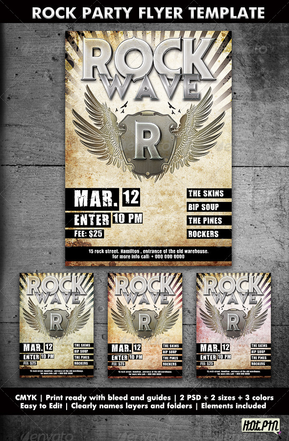 Rock Party/Concert Flyer Template by Hotpin GraphicRiver