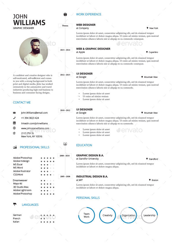 Clean Resume Vol 3 by paolo6180 GraphicRiver - clean resume design