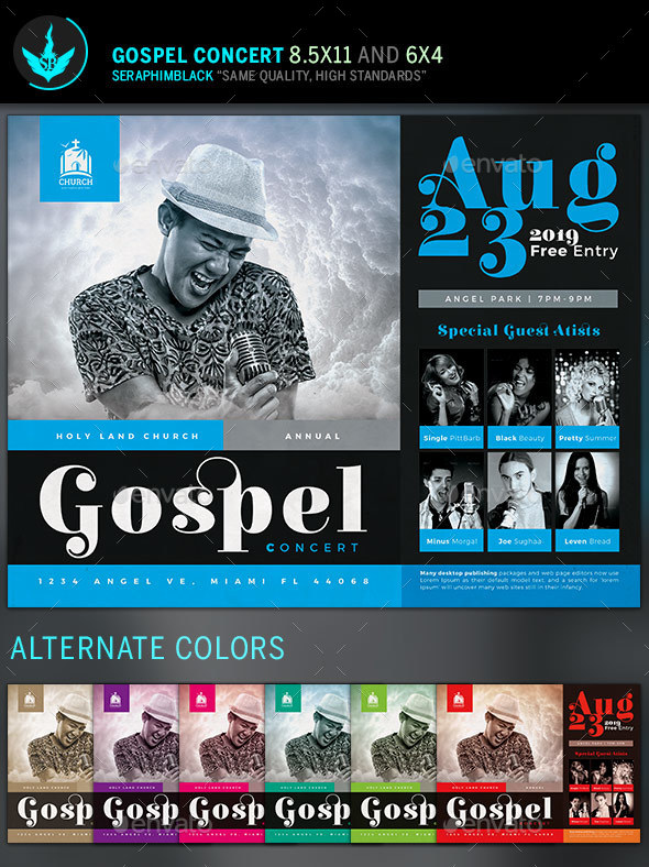 Gospel Concert Flyer Template by SeraphimBlack GraphicRiver