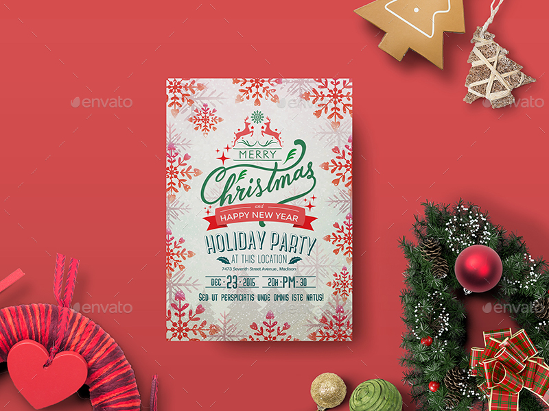 Holiday Party Flyer Template by wutip2 GraphicRiver