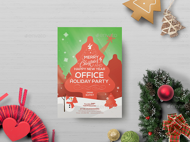 Office Holiday Party - Flyer Template by wutip2 GraphicRiver
