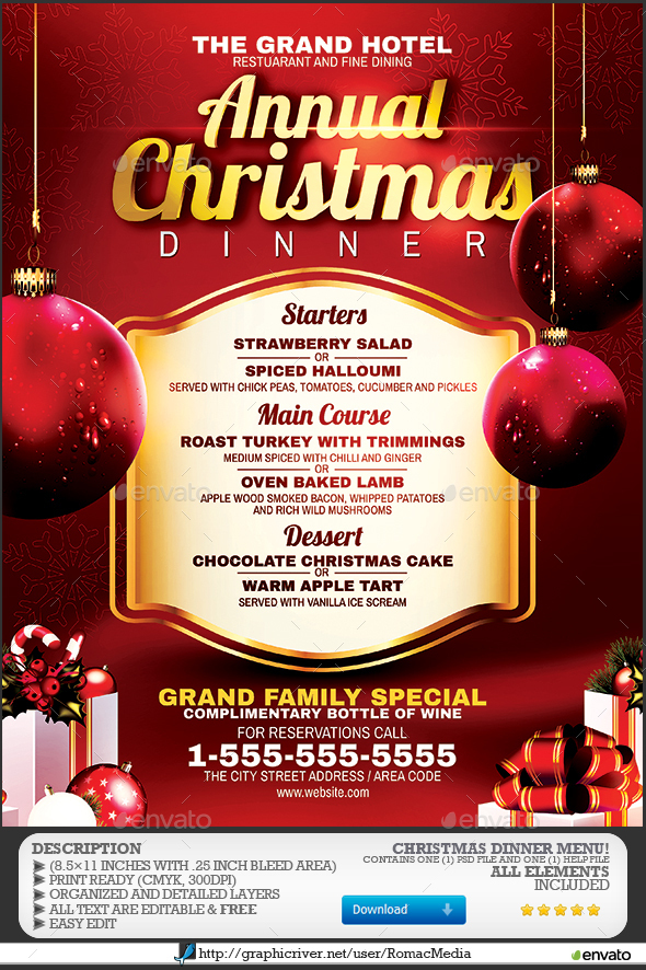 Christmas Dinner Menu by RomacMedia GraphicRiver - Dinner Flyer